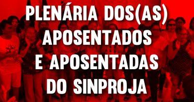 SINPROJA convoca para Plenária dos Aposentados/as